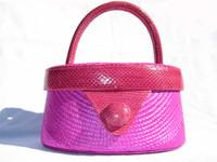 HOT PINK 1980's-90's SNAKE SKIN & STRAW Handbag - GINA ALEXANDER