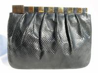1980's FINESSE LA MODEL Black KARUNG Snake Skin Clutch Bag
