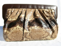 MORLE' 1970's-80's PYTHON Snake Skin CLUTCH Shoulder Bag