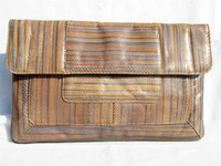 1970's Striped Python Snake Skin Clutch Shoulder Bag - VARON