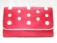 RED 1980's STRAW Clutch w/Cream COBRA Snake Skin Accents