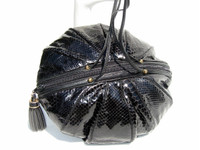 Round BLACK 1970's-80's COBRA Snake Skin Shoulder Cross Body Bag -SHARIF