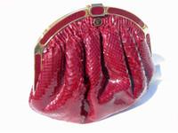 1970's-80's BURGUNDY WINE PYTHON Snake Skin Clutch Shoulder Bag