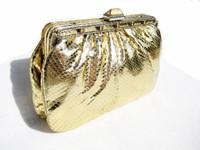 Jeweled METALLIC GOLD 1970's COBRA Snake Skin Bag - LEIBER