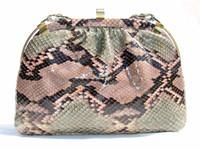 1970's Green & Pink Pastel PYTHON Snake Skin Clutch Shoulder Bag