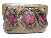 MORLE' 1970's-80's Pastel PYTHON Snake Skin CLUTCH Shoulder Bag G3-093