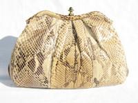 1970's-80's PYTHON Snake Skin CLUTCH Shoulder Bag - PALIZZIO