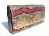 1970's PINK/GREEN PYTHON Snake Skin Clutch SHOULDER Bag