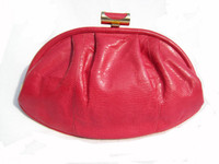 1970's HOT PINK Susan Gail KARUNG Snake Skin Clutch Bag