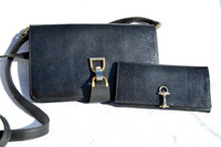 GUCCI 1970's-80's BLACK Lizard Skin CLUTCH Shoulder Bag with Matching Wallet