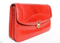 Ruby RED 1950's-60's LIZARD Skin Clutch Shoulder Bag w/Eel Skin Card Case