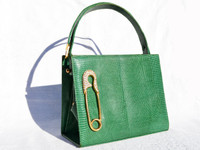 MARTIN VAN SCHAAK 1950's-60's GREEN Lizard Skin Handbag - SAFETY PIN!