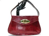 Gorgeous RED 1950's-60's REVITS Lizard Skin Handbag w/BRASS