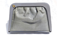 1970's-80's Gray LIZARD Skin & LUCITE Evening Bag - IPES