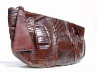 """HUGE 13"""" Chocolate 1950's-60's TEGU Lizard Skin CLUTCH Purse G2-103"""