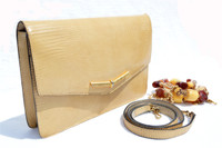 FRENCH 1960's-70's YELLOW Lizard Clutch Shoulder Bag - STONE Strap