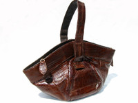 DECO Style 1950's Chocolate Lizard Skin Wristlet Purse - DEITSCH