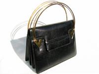 BLACK 1970's FINESSE Lizard Skin Handbag w/TRIPLE METAL Handles