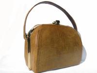 MUSTARD Yellow Green 1950's-60's Lizard Skin Handbag
