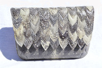 Stunning 1970's SCALLOPED Monitor RING Lizard CLUTCH - R. SALDANA
