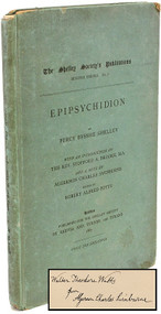 SHELLEY, Percy Bysshe. Epipsychidion. The Shelley Society's Publications. Second Series. No 7. (PRESENTATION COPY - INSCRIBED BY ALGERNON CHARLES SWINBURNE - 1887)