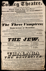 Coburg Theatre. The Three Vampires; or Maids beware of Moonshine - The Jew - Thalaba The Destroyer. (1823)