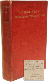 WHARTON, Edith. Fighting France From Dunkerque To Belfort. (FIRST EDITION INSCRIBED TO HER CHAUFFEUR - 1915)