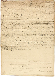 """COOPER, James Fenimore. The Bravo. (ORIGINAL MANUSCRIPT LEAF FROM THE REJECTED CHAPTERS OF """"THE BRAVO"""")"""