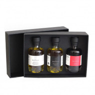 An exclusive Spanish olive oil: fresh, mild and fruity. The oil is artisan made from the exclusive Arbequina olives.  •Organic Extra virgin olive oil from Arbequina olives 3.4 fl oz •White Truffle Extra Virgin Olive Oil 3.4 fl oz •Sherry wine vinegar based Pedro Ximénez 3.4 fl oz
