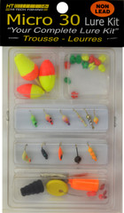 MICRO KIT GLOW-PLASTIC BOX-11 ASSORTED GLOW ICE JIGS-30 PC LURE KIT