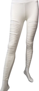 White Cutout Sparkle Pants