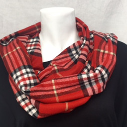 Red/Black Cashmere-Feel Scarf