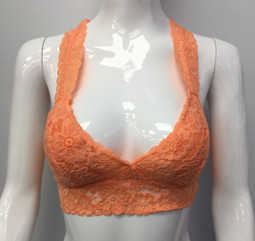B82 Orange Lace Bra
