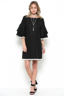 3949 Black Suede Like Ruffle Sleeved Dress