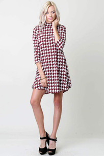 3210 Red Houndstooth Dress