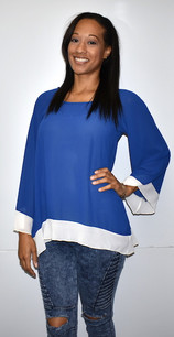 1432 Blue/White Inspired Contrast Trim Gameday Top