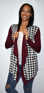 1846 Red/Black Houndstooth Trimmed Jacket