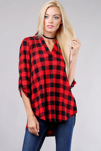 3288 Red/Black Plaid V Top