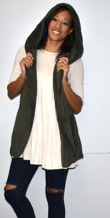 90043 Olive Fuzzy Hoodie Vest w/ Pockets