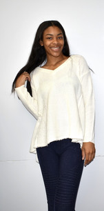 5473 Creme Inverted Seam Waffle V Neck Sweater Top