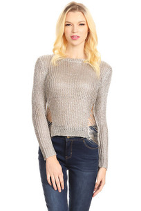 788-434861 White Gold Metallic Knit Top