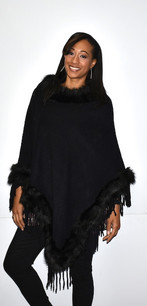 5146 Black Fur Trimmed Poncho