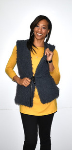 4007 Charcoal Fuzzy Feel Belted Vest