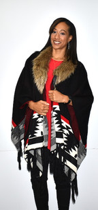 Black/White Aztec Print Fur Trimmed Wrap