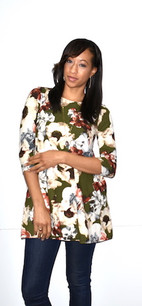 2221 Green Print DTY Fabric Tunic Top
