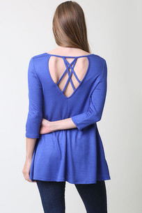 36711 Blue Criss Crossed Back Poly Rayon Pocket Top