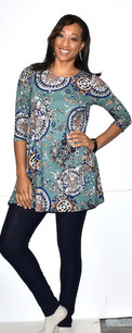 21011 Multicolored DTY Fabric Pocket Tunic Top