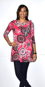 21024 Hot Pink DTY Fabric Pocket Tunic Top