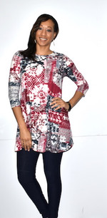 21012 Red/Black DTY Fabric Tunic Top