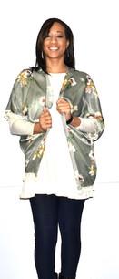 152151 Green Floral Print Kimono w/ Tassels